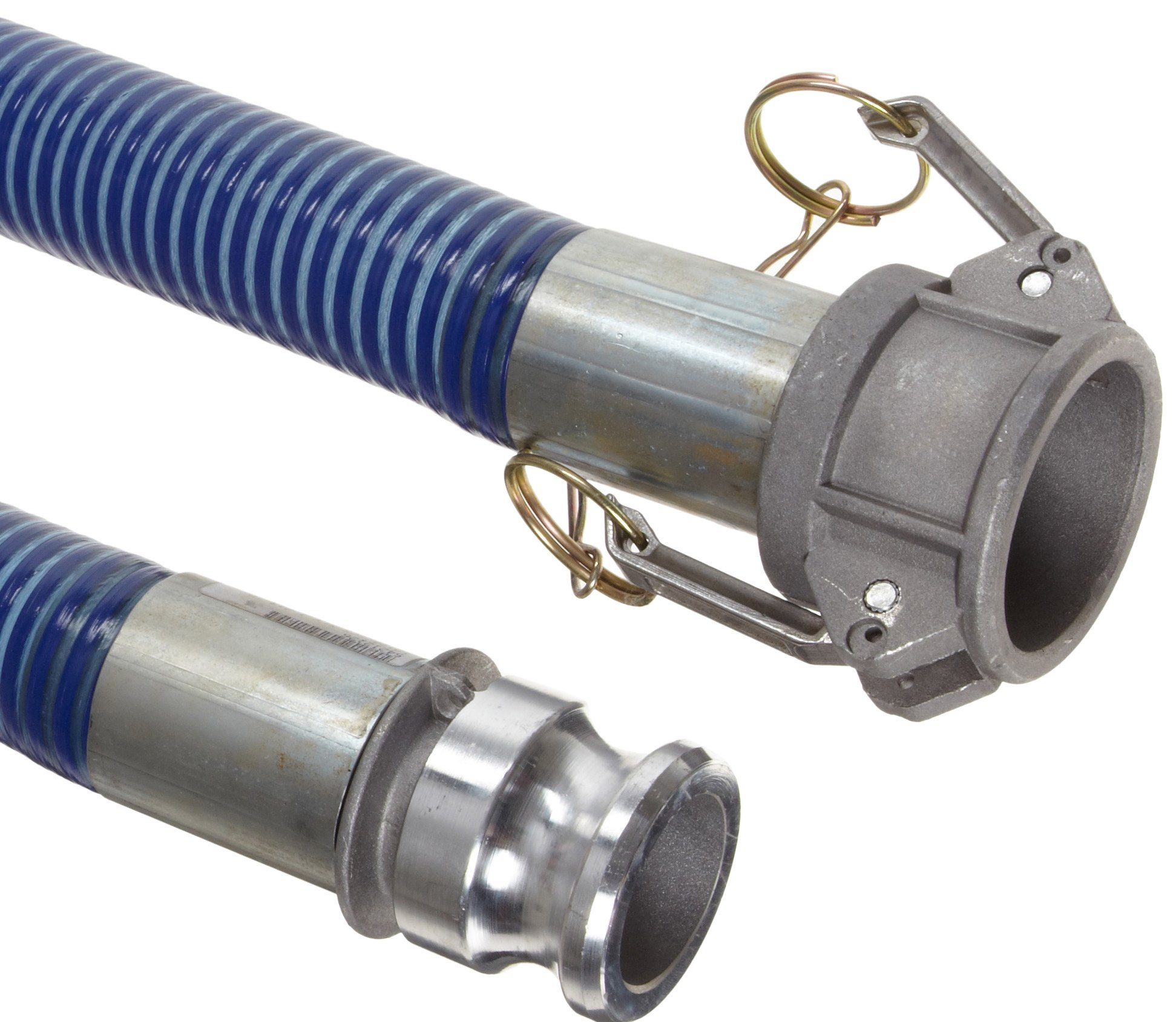 Goodyear EP Cold  Blue PVC Suction/Discharge Hose Assembly, 2'' Aluminum Cam And Groove Connection, 29mmHg Vacuum Rating 80 PSI Maximum Pressure, 20' Length, 2'' ID