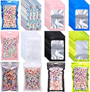 150 Pieces Resealable Smell Proof Pouch Bags, 5 x 8 Inch Mylar Zipper Pouches with Clear Window Food Storage Bags for Snacks Jewelry Accessory Craft Charms, 6 Colors