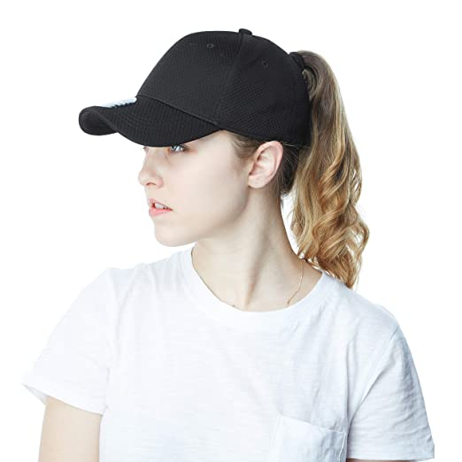 Ponytail High Bun Stretch Fit Mesh Quick Dry Hat Ponycaps Structured Baseball  Cap (Black) 5ff13815389