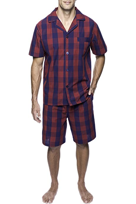 Mens Cotton Summer Pajamas Set Plaid Short Sleeve Knee-Length Sleepwear with Pocket