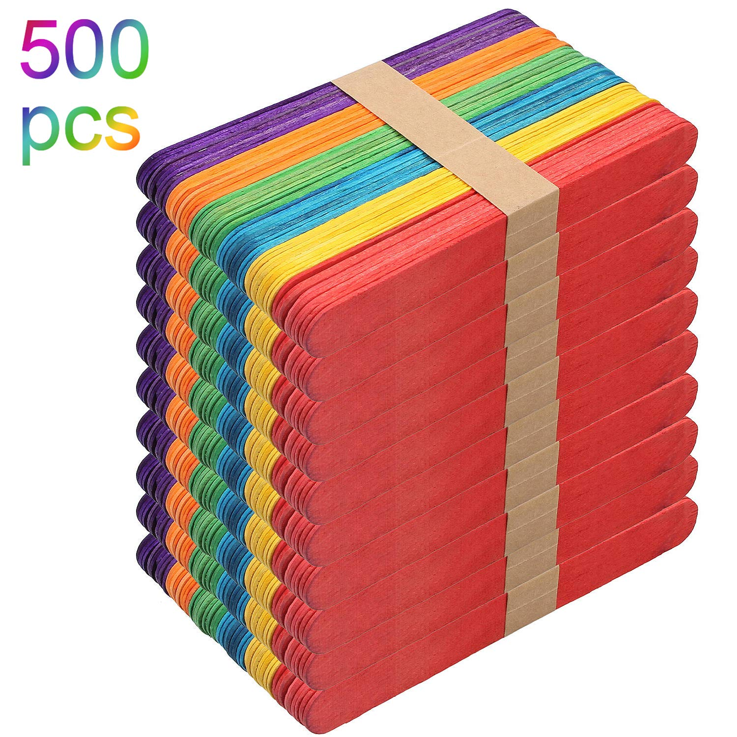 500 Pack Colored Craft Sticks Wooden Popsicle Sticks 6''x0.7'', CBTONE Bright Vibrant Jumbo Wood Sticks Mixed Colors for DIY Craft Creative Designs or Children Education