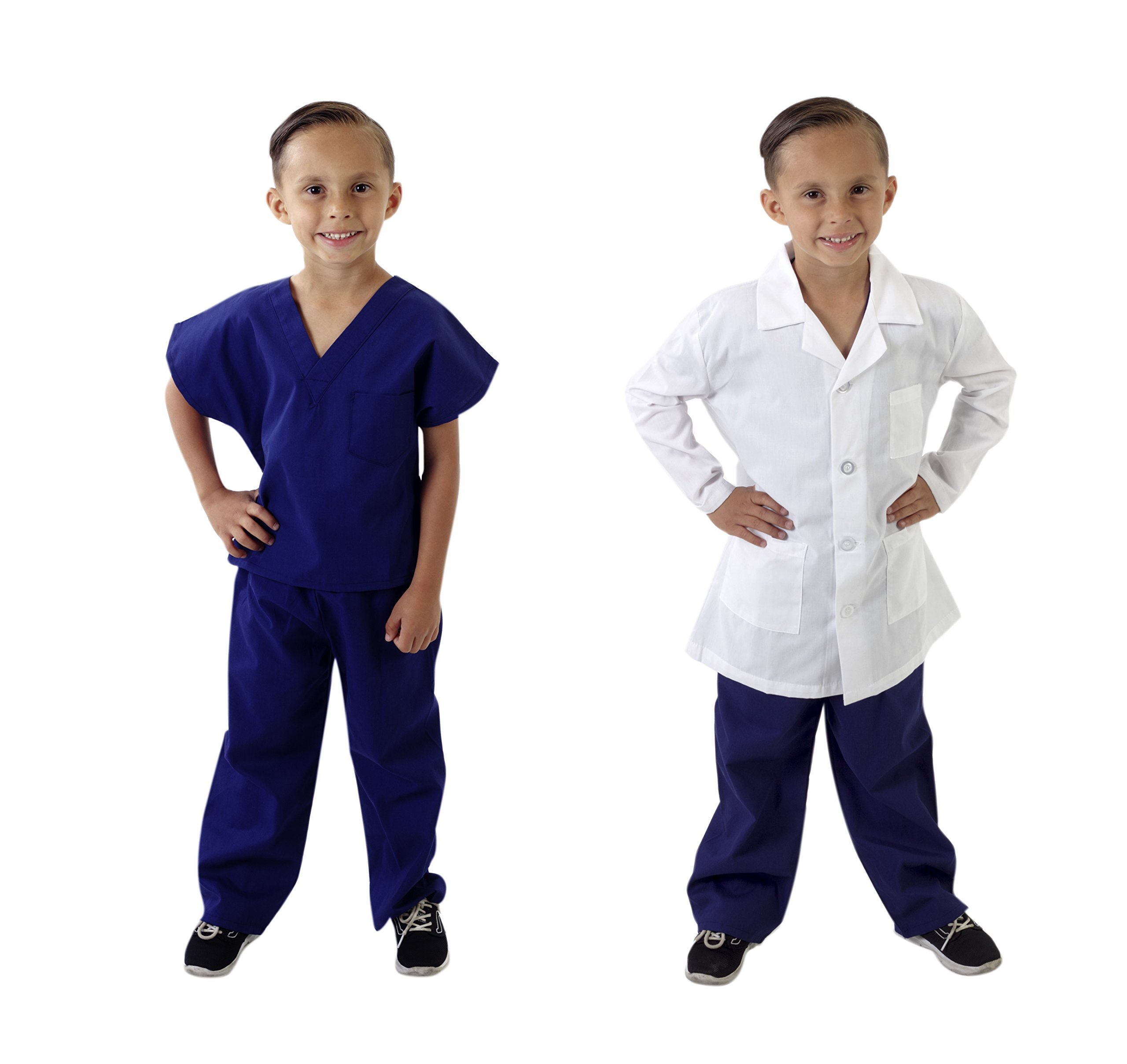 Natural Uniforms Childrens Scrub Set and Labcoat Combo-Soft Touch (True Navy Blue, 8/10)
