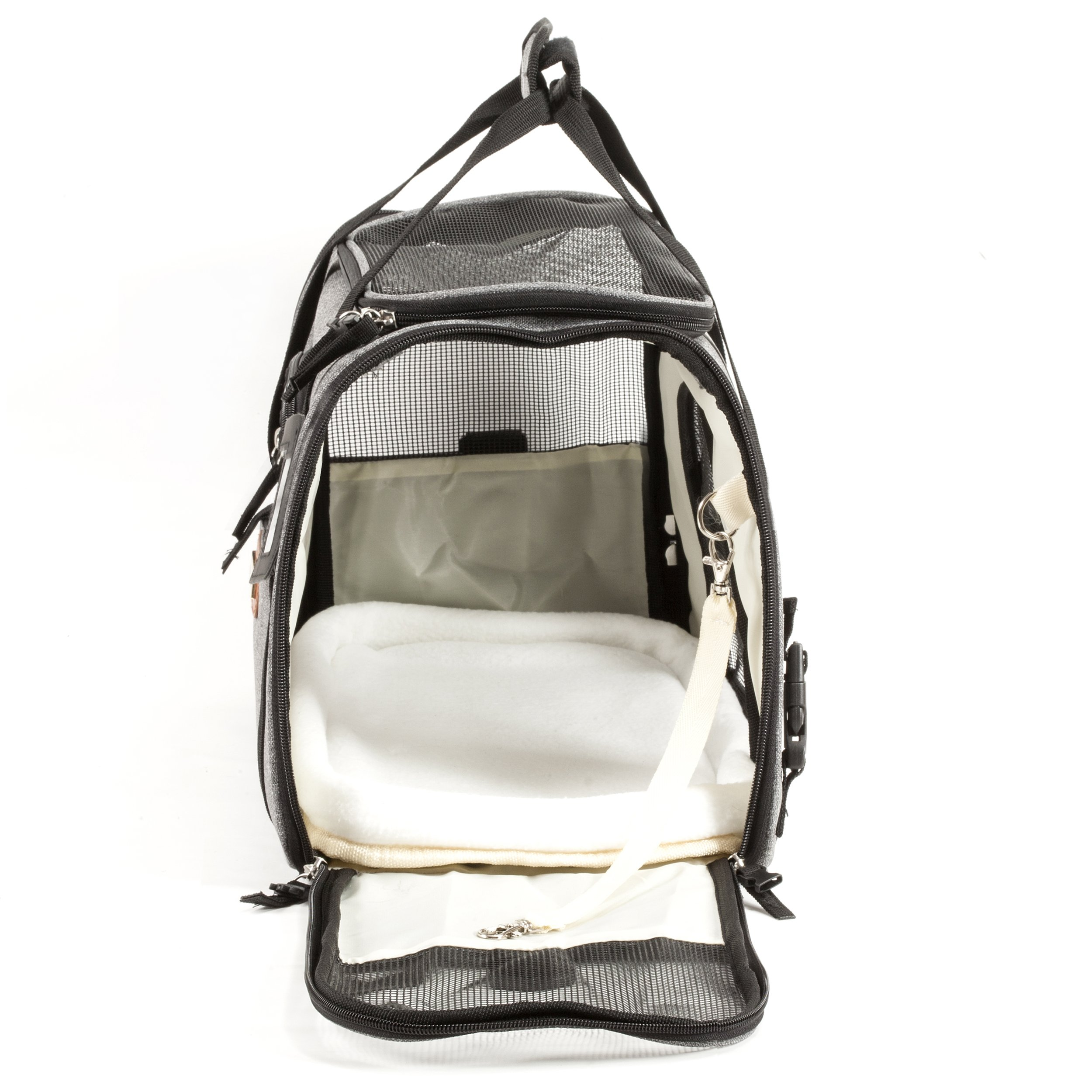 Pawfect Pets Pet Travel Carrier, Soft-Sided with Two Pet Mats for Small Dogs and Cats (Grey) by Pawfect Pets (Image #7)