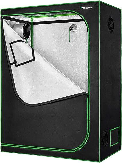 "VIVOSUN 48/""x48/""x80/"" Mylar Hydroponic Grow Tent with Window and Floor Tray 4/' x4/'"