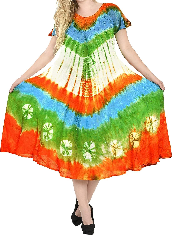 LA LEELA Vestido Superior de la Playa del Caribe t/única Corta de ray/ón del Tinte del Lazo