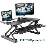 VIVO Black Electric Height Adjustable 36 inch Standing Desk Converter, Sit Stand Tabletop Dual Monitor and Laptop Riser Workstation (DESK-V000EB)