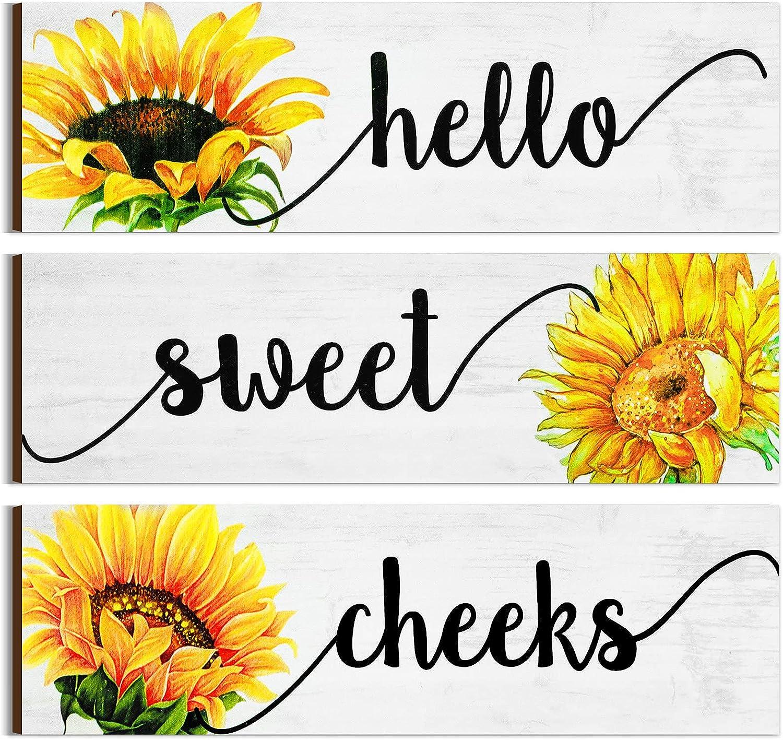 Jetec 3 Pieces Farmhouse Bathroom Wall Decors Hello Sweet Cheeks Signs Sunflower Rustic Bathroom Wall Art Sign Bathroom Wooden Sign Vintage Wood Decorations for Home Laundry Room Bathroom