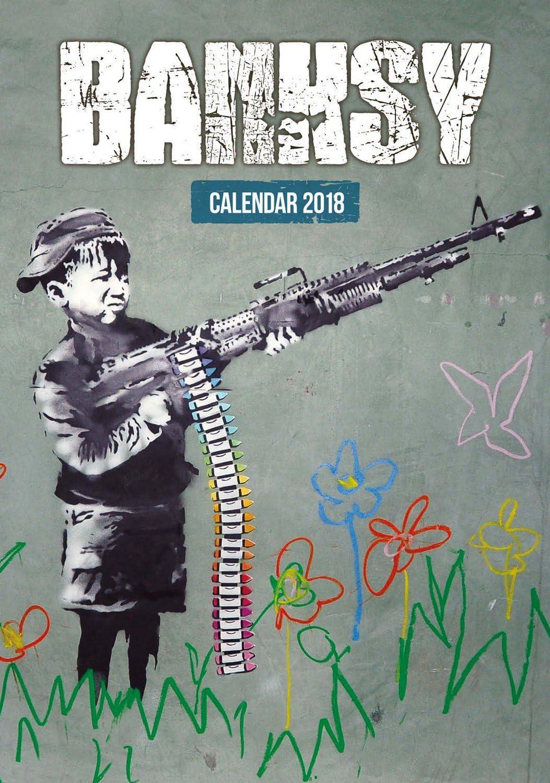 Imagicom Imacal216 Calendario Da Parete Di Banksy, Carta, Rosso, 0,1X30,5X42.5 Cm