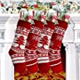 Yostyle Christmas Stockings, 4 Pack 18 inches Large Size Cable Knit Knitted Xmas Stockings, Rustic Personalized Stocking Decorations for Family Holiday Season Decor (Snowflakes, Xmas Tree)