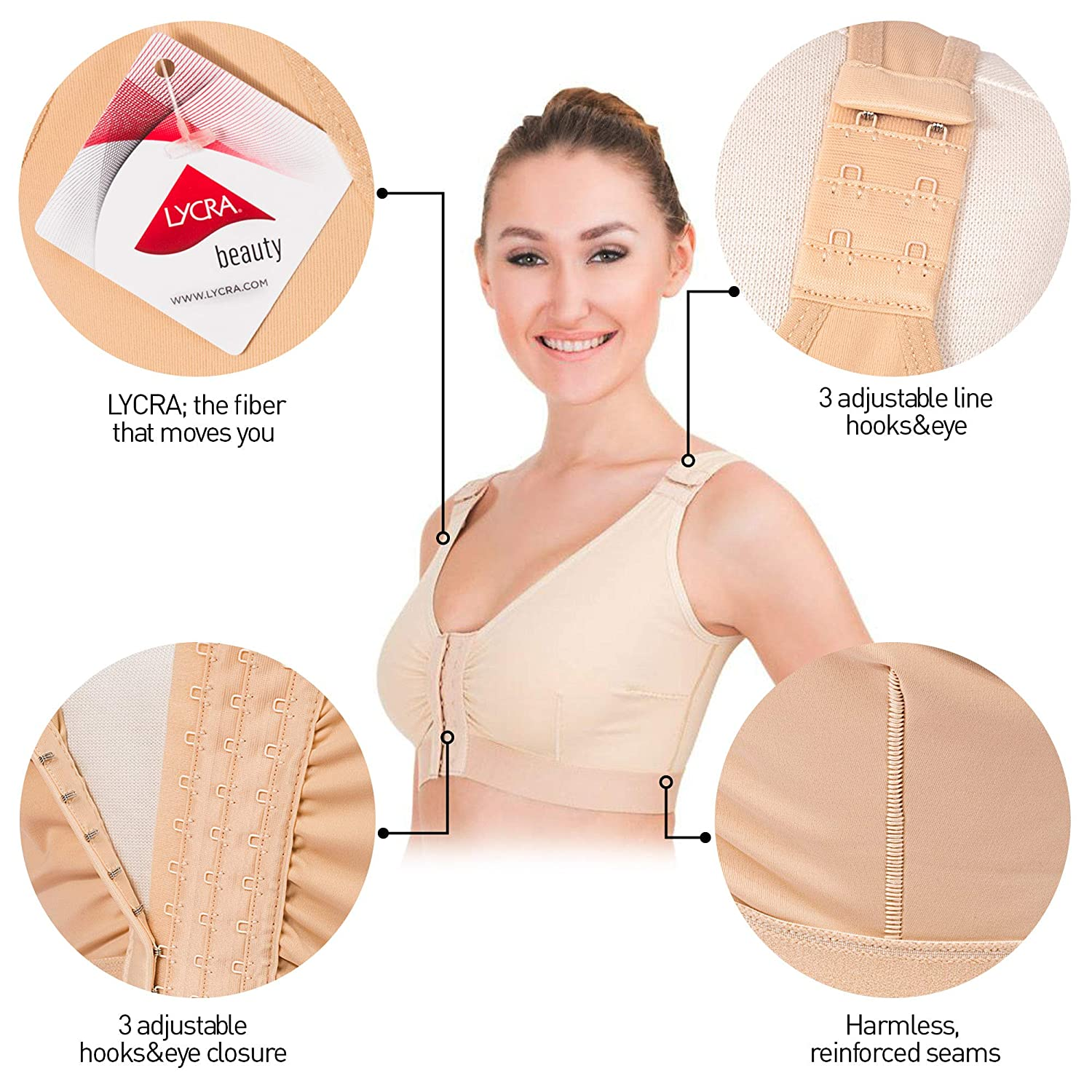 Post-Surgical Liposuction Compression Support Bra Front Closure with Adjustable Straps