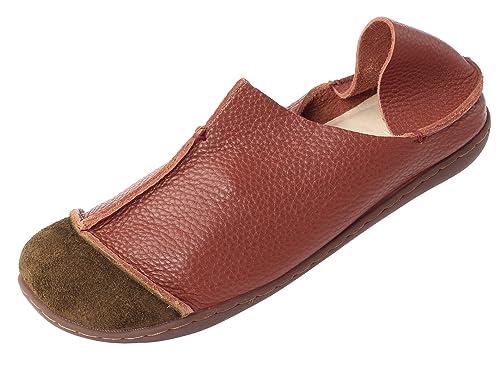 Vogstyle Mujeres Primavera/El Verano Hecho A Mano Cuero Zapatos De Los Planos: Amazon.es: Zapatos y complementos