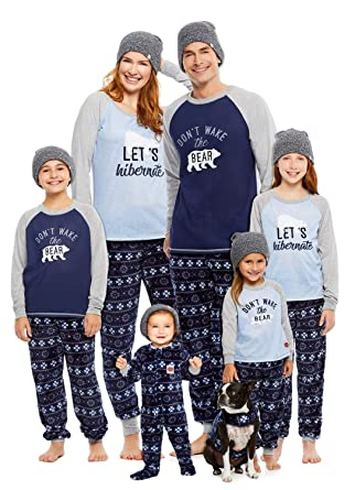 6912fb3fd285 Amazon.com  Family Let s Hibernate Matching Pajama Set