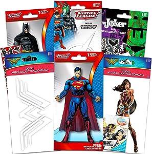 DC Comics Justice League Decals for Cars Walls Ultimate Set - 6 Premium DC Superhero Decal Stickers for Laptop, Car, MacBook (Batman, Superman, Joker, Wonder Woman, Harley Quinn, Flash)
