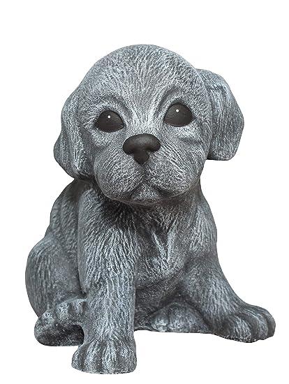Hund Deko.Steinfigur Welpe Sitzend Schiefergrau Hund Deko Figur Garten Frostsicher