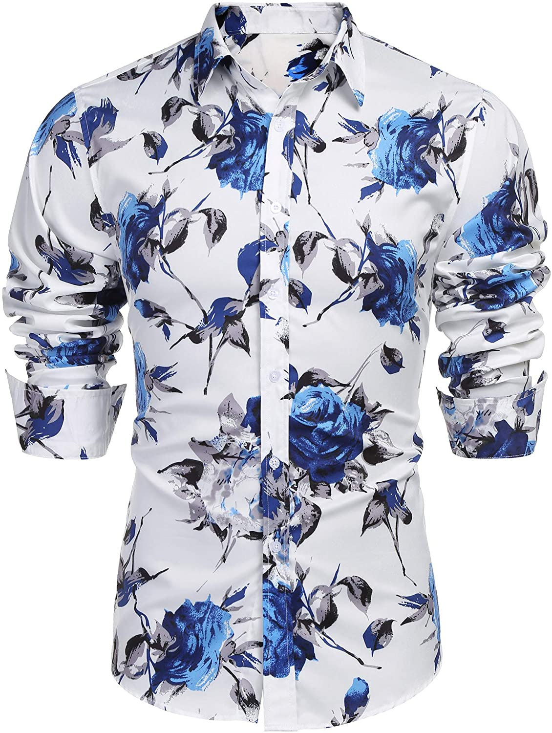 COOFANDY Men's Slim Fit Floral Dress Shirt Long Sleeve Casual Button Down Shirts Hawaiian Shirts