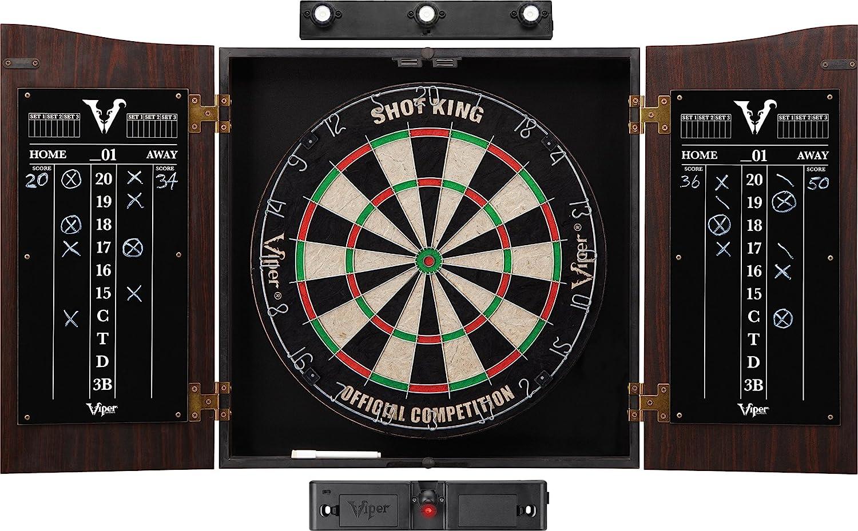 Viper Vault Cabinet & Shot King Sisal/Bristle Dartboard Ready-to-Play Bundle: Elite Set (Shot King Dartboard, Darts, Shadow Buster and Laser Throw Line) : Sports & Outdoors