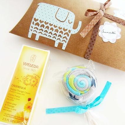 Caja con Crema WELEDA y Piruleta de Calcetines en Algodón | Baby Shower Gift Idea |