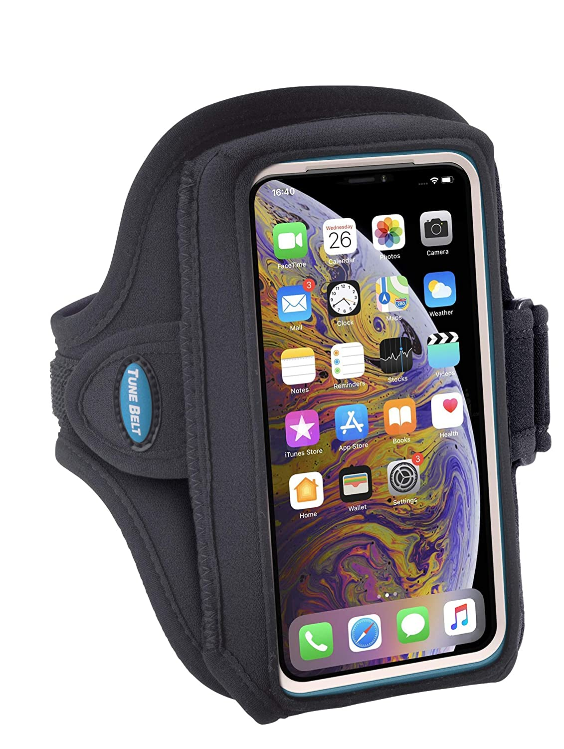 Armband Compatible with iPhone X Xs 8 7 6s 6 with OtterBox Defender/Large Case - Fits Galaxy S6 S7 S8 S9 with LifeProof Case - for Running & Working Out - Sweat-Resistant [Black]