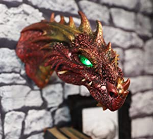 Ebros Gift Fantasy Volcanic Fire Red Spiked Dragon Head Wall Decor Plaque With Color Changing LED Illuminated Eyes Dungeons And Dragons Medieval Renaissance Legends Hanging Sculpture Home Decor