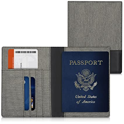 dda186ff229b kwmobile Passport Holder with Card Slots - PU Leather Passport Cover  Protective Case - Travel Wallet for Men & Women - Grey/Black