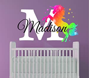 Girls Nursery Rainbow Unicorn Personalized Custom Name and Initial Wall Decal, Decor Wall Stickers for Babies (Large)
