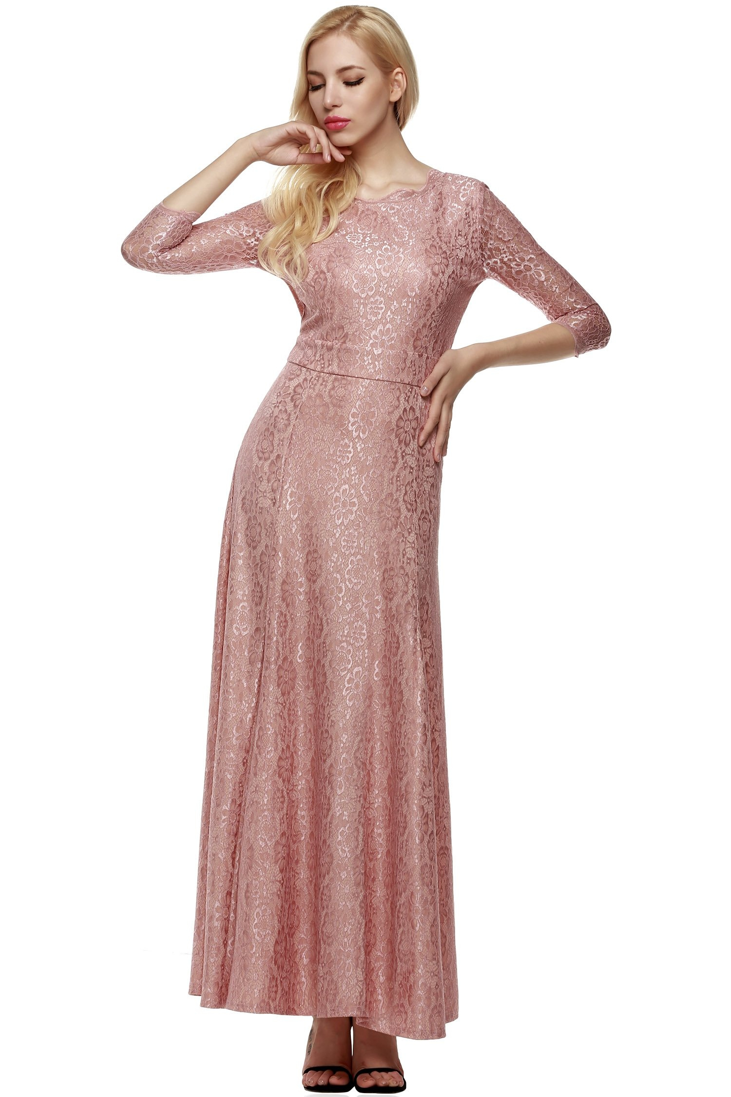 ANGVNS Women Lace 2/3 Sleeve Bridesmaid Homecoming Gown Dress, Size Large, Pink
