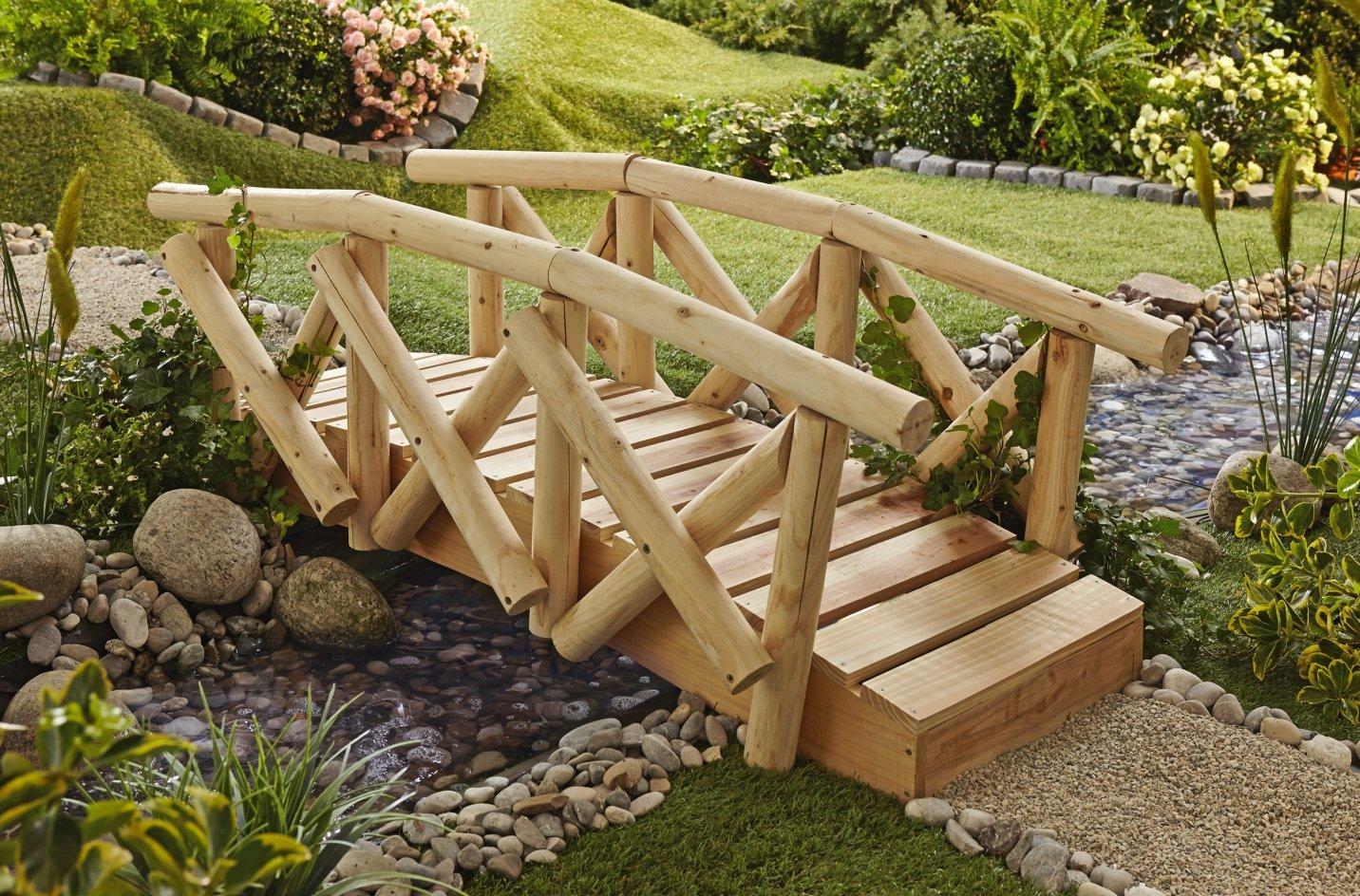 Gartenbrücke mit Geländer Gartensteg Steg Brücke Holz Garten Deko Teichübergang