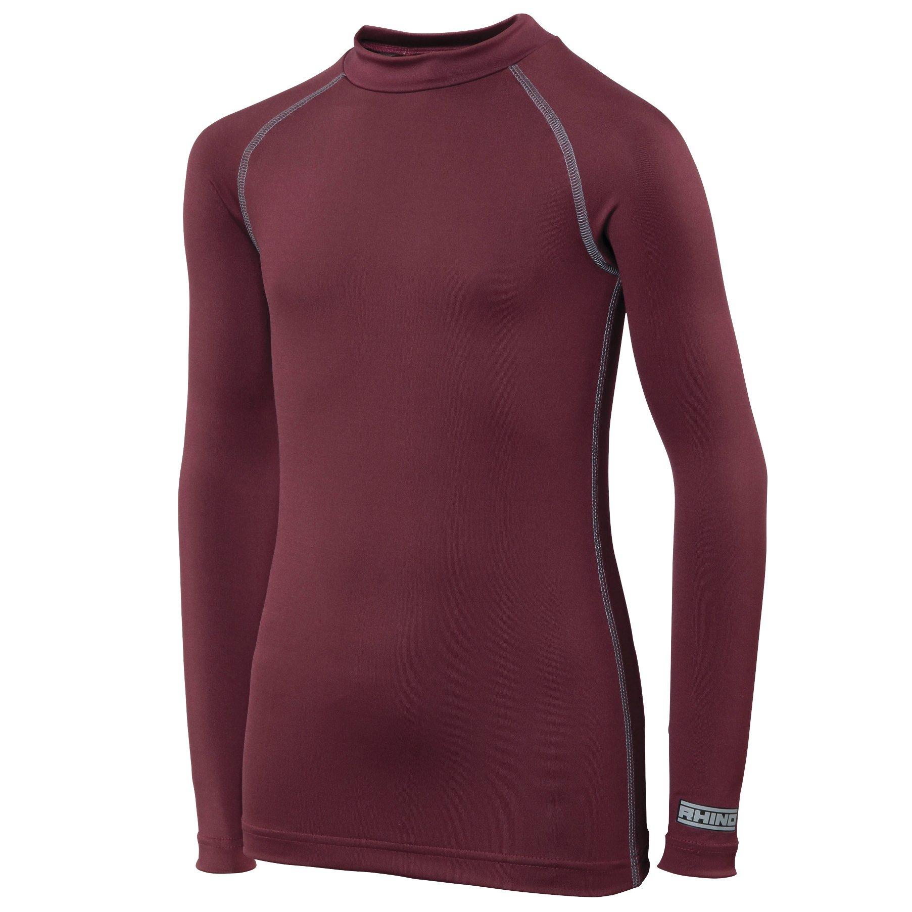Rhino Childrens Big Boys Long Sleeve Thermal Underwear Base Layer Vest Top (LY-XLY) (Maroon) by Rhino