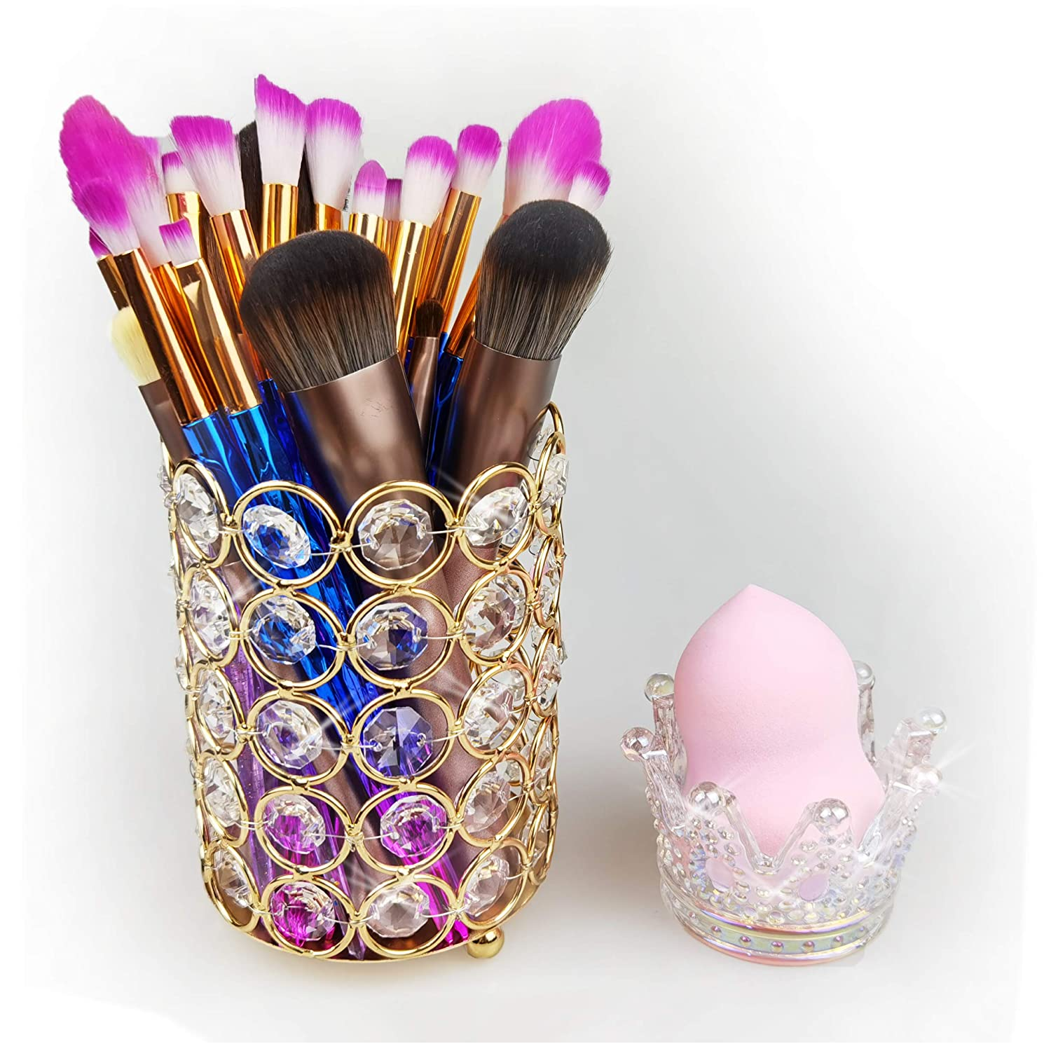 Crystal Makeup Brush Holder + Beauty Sponge Blender Crown Glassware Holder, Multi-function Sparkly Crystal Makeup Organizer Set Bling Brush Container & Ambilight Flame Puff Drying Stand, Gold+ Clear