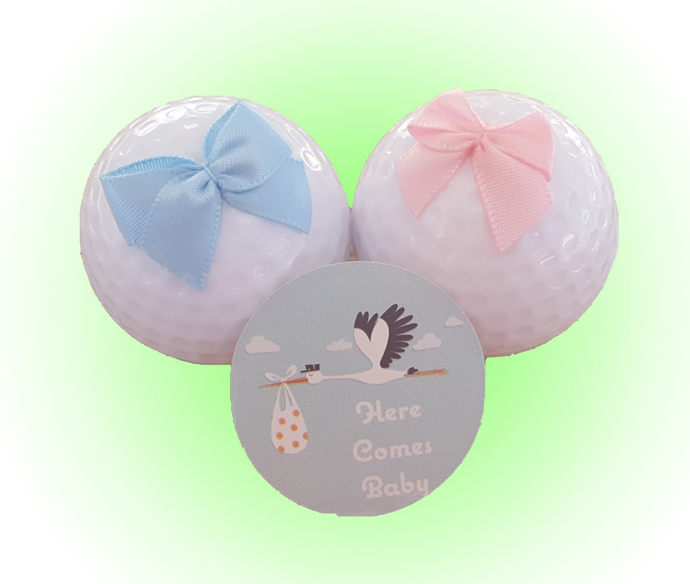 Baby Gender Reveal Exploding Golf Balls - 1 Team Pink (Girl) and 1 Team Blue (Boy) - by Here Comes Baby