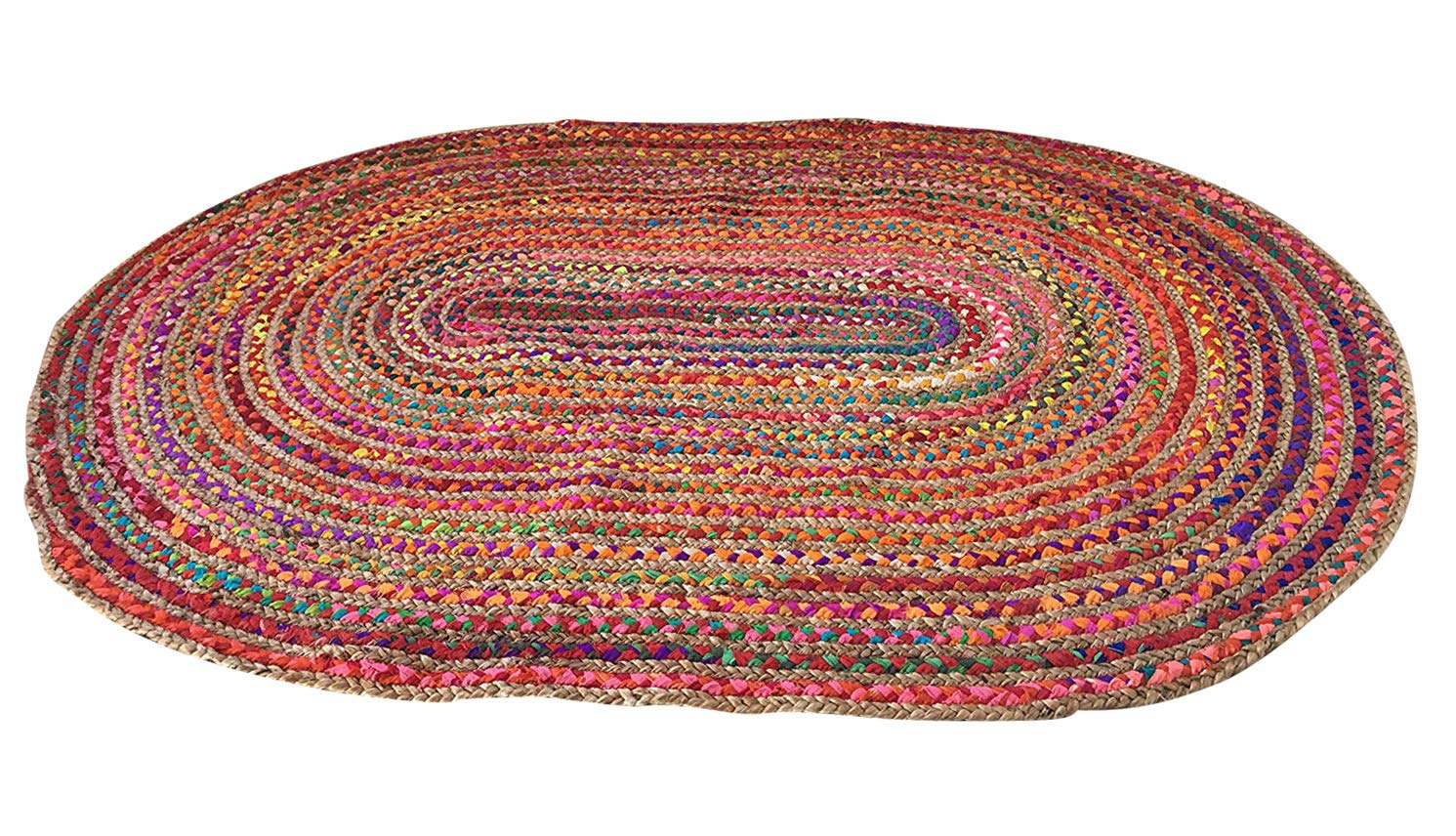 Second Nature Große geflochten oval Flickenteppich Jute & Baumwolle Multi Farbig 120 cm x 180 cm