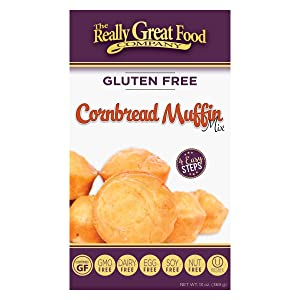 Really Great Food Company – Gluten Free Cornbread Muffin Mix – 13 ounce box - No Nuts, Soy, Dairy, Eggs - Vegan, Kosher, Non-GMO and Plant Based