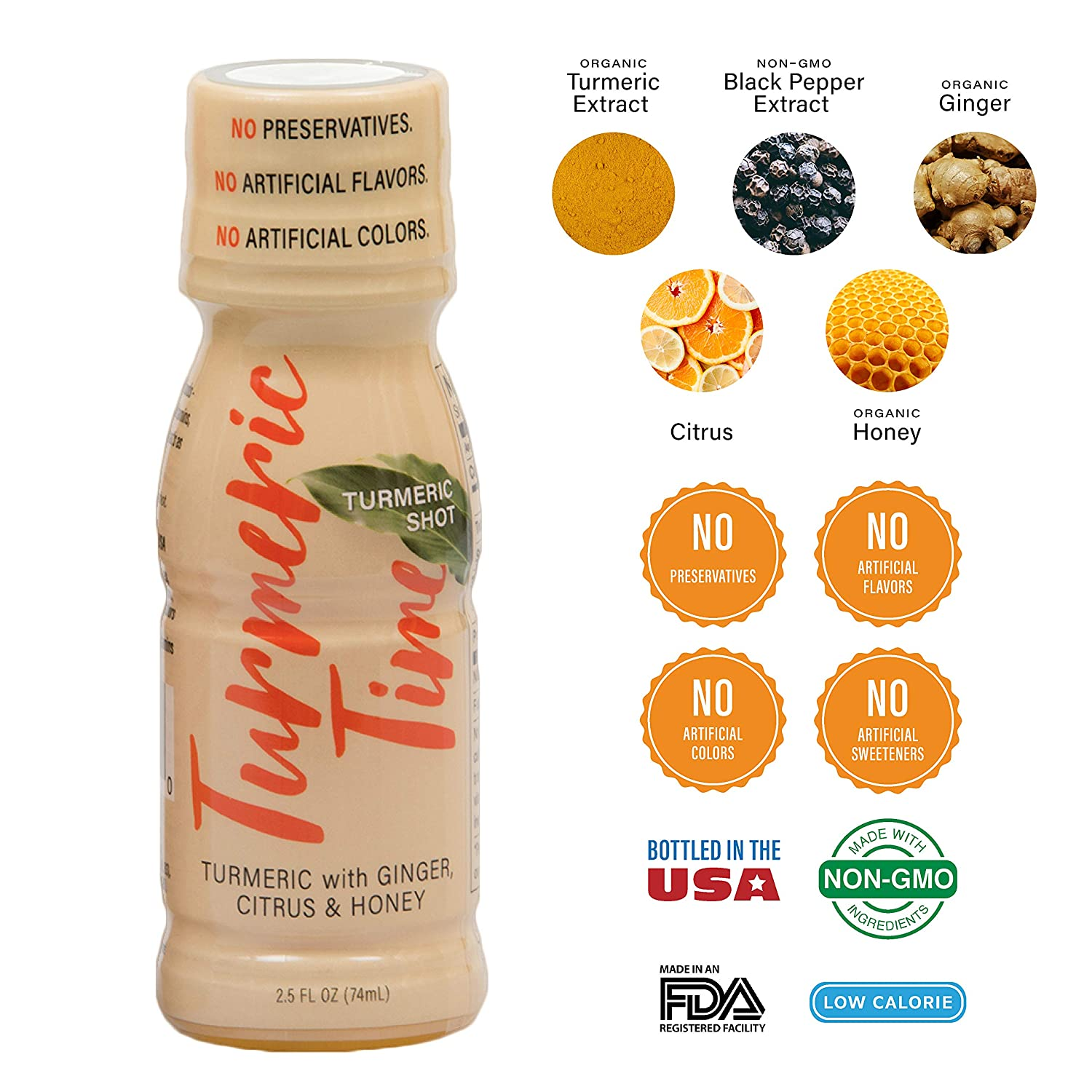 Turmeric Time Turmeric Shots – Turmeric with Ginger, Citrus Honey Non-GMO No Preservatives or Artificial Flavors Colors Sweeteners B Vitamins Liquid Turmeric 12 Pack