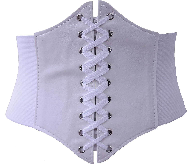 nero /& bianco Milk Moon Vintage Elastico Cinched ampia cintura corsetto rosso