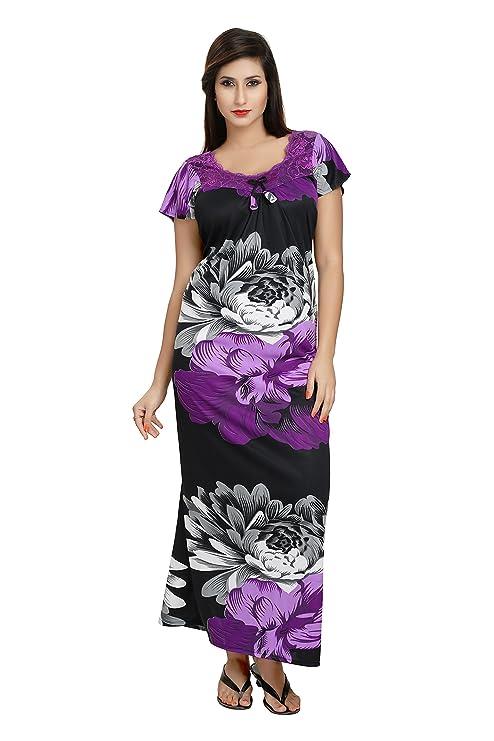 2e6127a19f Noty Women s Satin Floral Print Nighty(B-6
