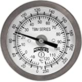"""Winters TBM Series Stainless Steel 304 Dual Scale Bi-Metal Thermometer, 2-1/2"""" Stem, 1/4"""" NPT Fixed Center Back Mount Connection, 2"""" Dial, 0-250 F/C Range"""