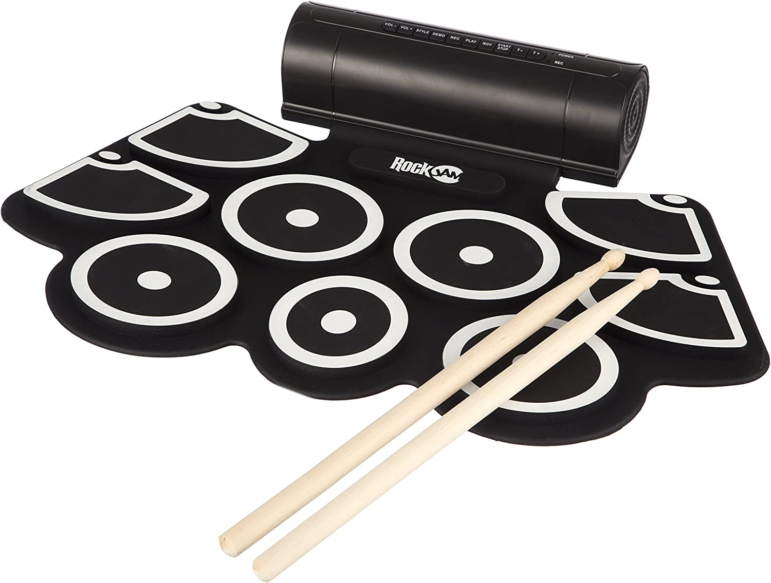 RockJam Portable MIDI Electronic Roll Up Drum Kit with Built in Speakers, Power...