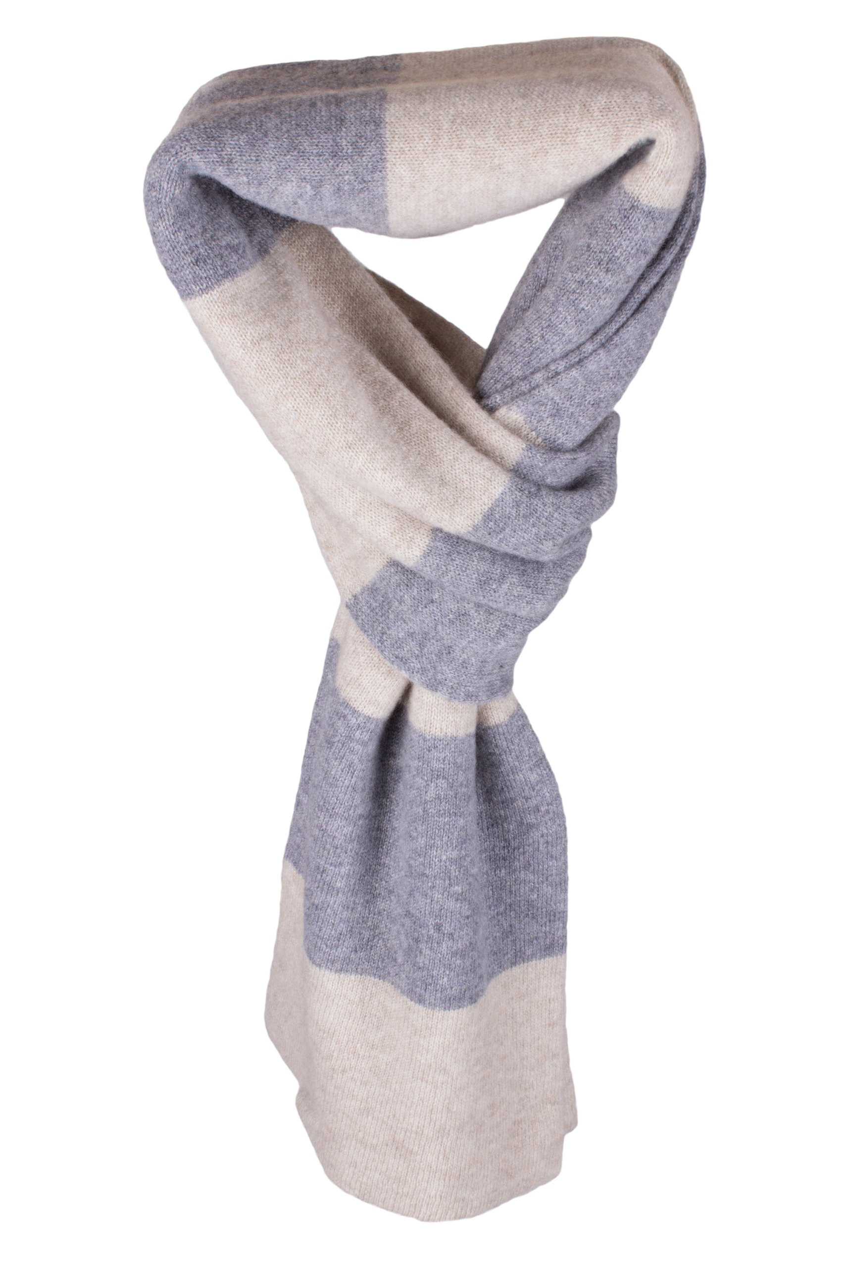 Ladies Striped 100% Cashmere Scarf - Light Natural / Light Gray - hand made in Scotland by Love Cashmere