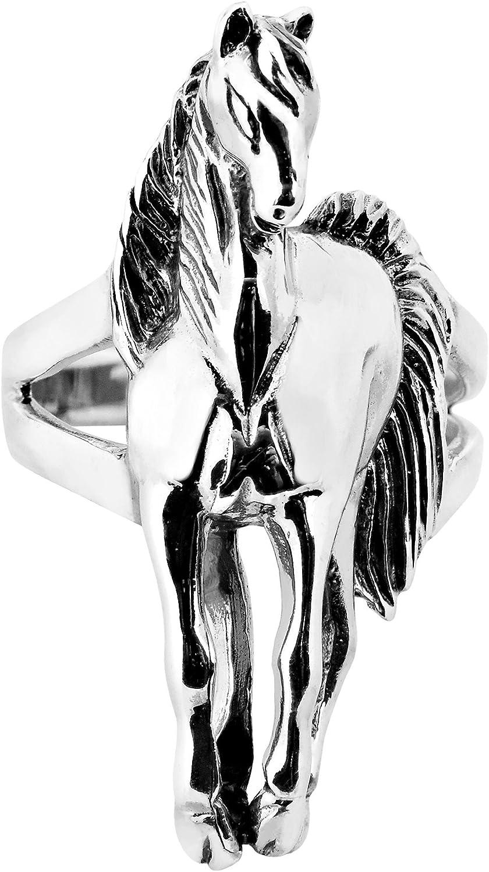 AeraVida Brave Racing Stallion Horse .925 Sterling Silver Statement Ring