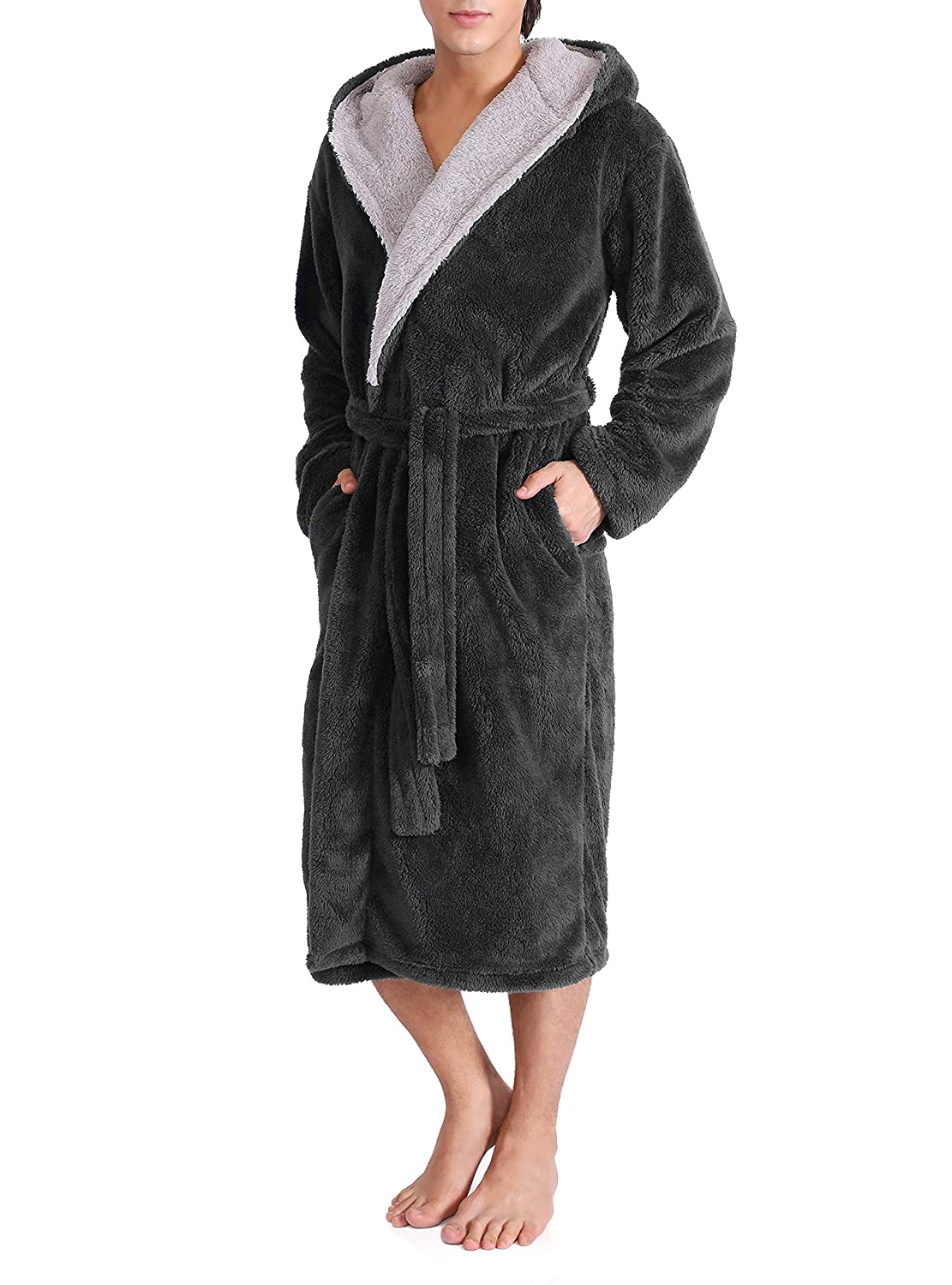 David Archy Men's Hooded Fleece Plush Soft Shu Velveteen Robe Full Length Long Bathrobe