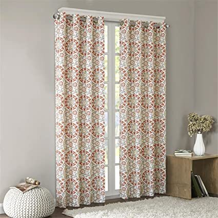 Intelligent Design Coral Grommet Curtains Living Room Global Inspired Fabric Window Bedroom Family
