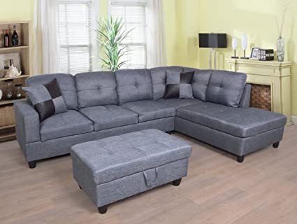 Beverly Fine Furniture F128A Left Facing Linen Russes Sectional Sofa Set  with Ottoman Grey