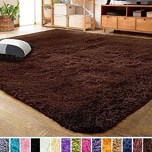LOCHAS Ultra Soft Indoor Modern Area Rugs Fluffy Living Room Carpets for Children Bedroom Home Decor Nursery Rug 5.3x7.5 Feet, Brown