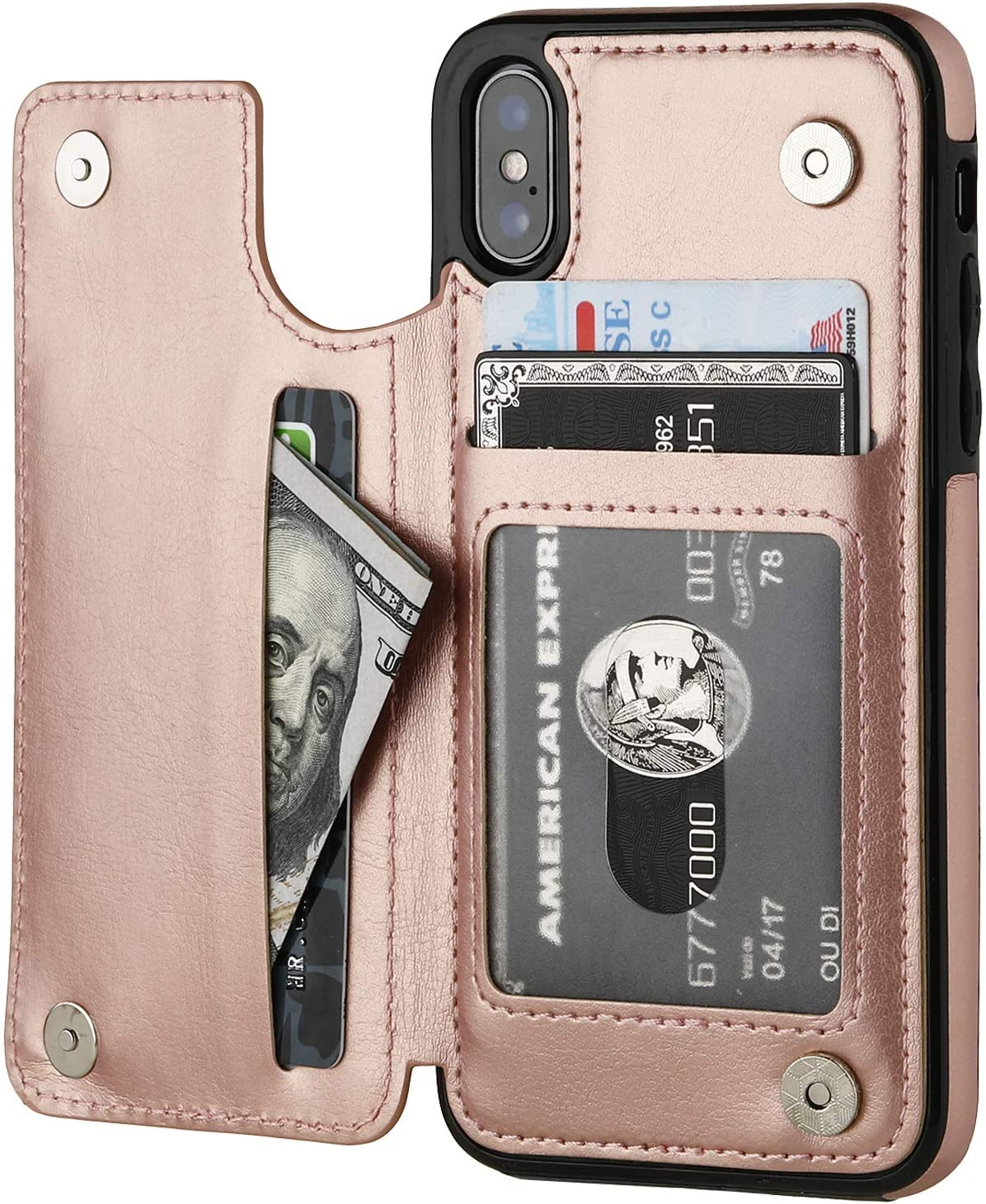 iPhone Xs iPhone X Wallet Case with Card Holder,OT ONETOP Premium PU Leather Kickstand Card Slots Case,Double Magnetic Clasp and Durable Shockproof Cover (iPhone X 5.8