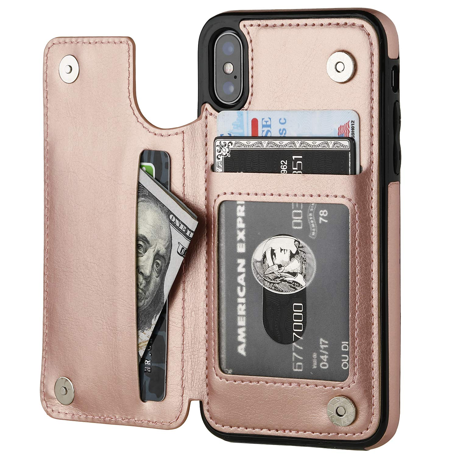 iPhone Xs iPhone X Wallet Case with Card Holder,OT ONETOP Premium PU Leather Kickstand Card Slots Case,Double Magnetic Clasp and Durable Shockproof Cover (iPhone X 5.8'' Rose Gold) by OT ONETOP