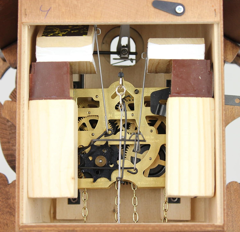 cinque foglie dipinto 23 cm Eble offerta di orologi-Park Eble meccanico 1-giorno unit/à ottica e certificato VDS Original foreste musicale Nero orologio in legno 20-01-14-10