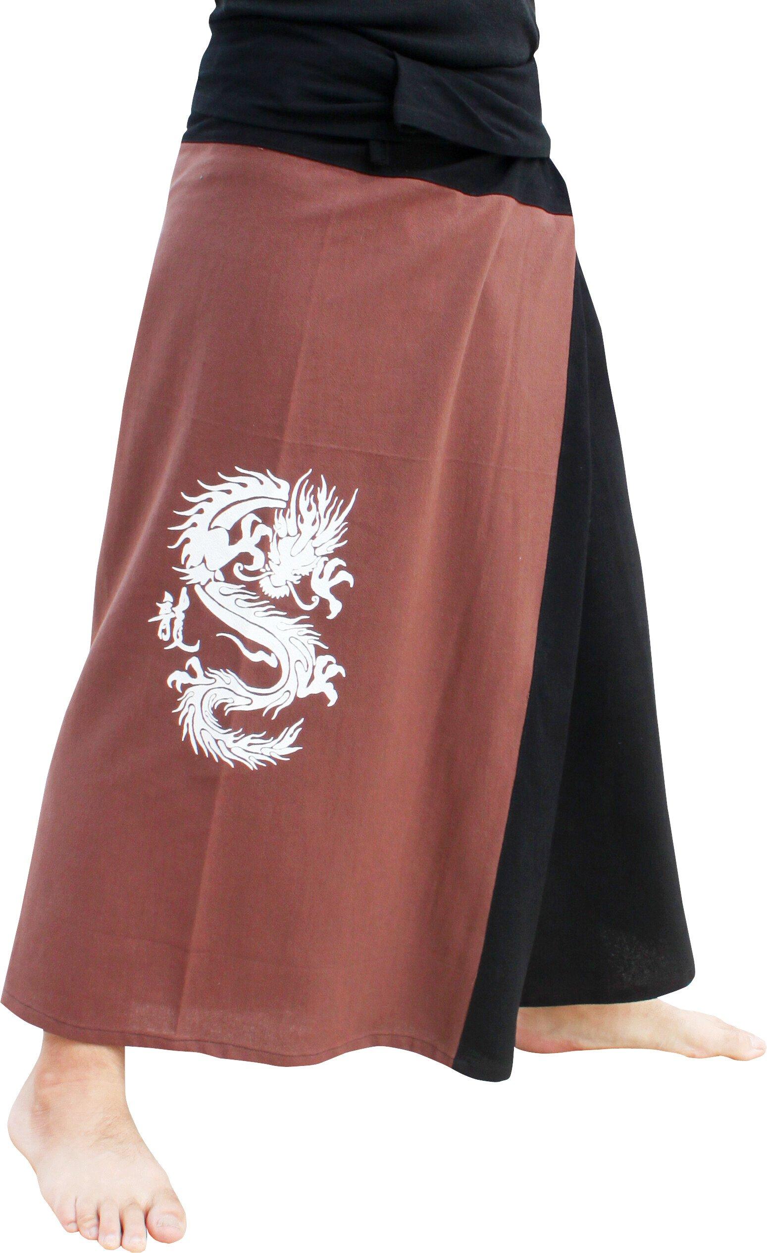 Raan Pah Muang RaanPahMuang Thick Cotton Two Color Fire Dragon Samurai Wrap Pants, Medium, Dark Brown & Black by Raan Pah Muang