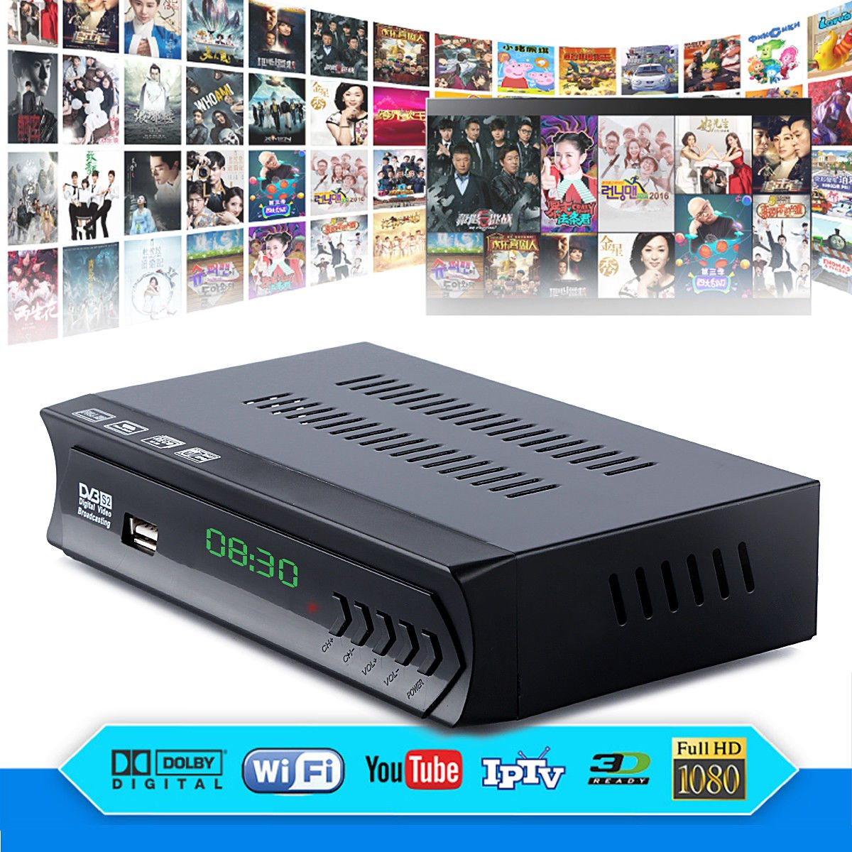 FidgetFidget DVB-S2 Digital Satellite + Wifi IPTV Combo AC3 Receiver Blind TV BOX IKS Youtube