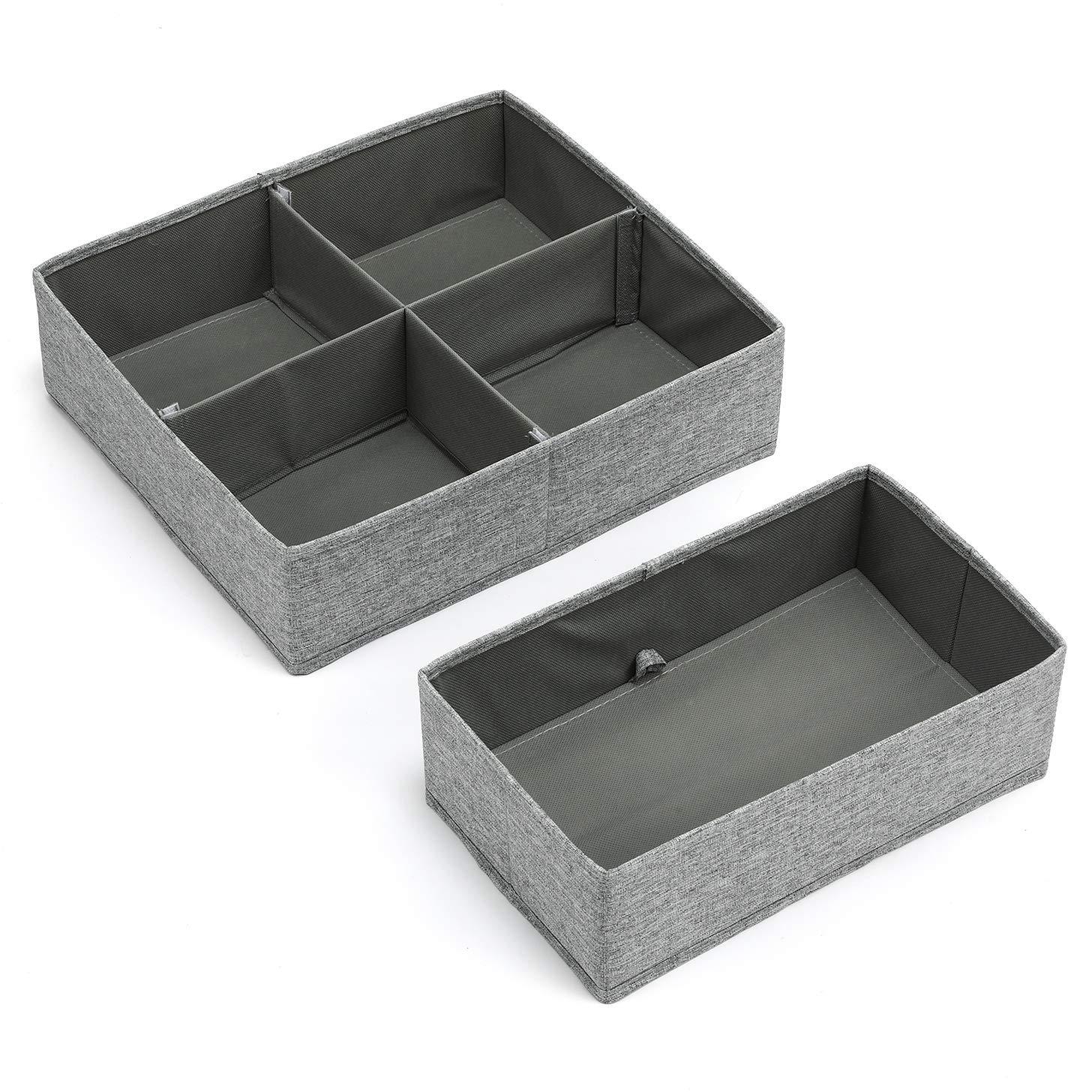 Aufbewahrungsbox Stoff Set faltbar Unterwä sche Socken Organizer Ordnungsbox Faltbox Stoffbox 2er Set (Grau) MaidMAX 903137-EU