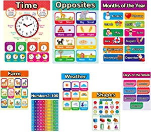 Educational Posters for Kindergarten Kids Learning Preschool Posters Classroom Decorations Elementary, Kindergarten Educational Materials, Home Schooling Materials Include Alphabet Colors (8 Pack)